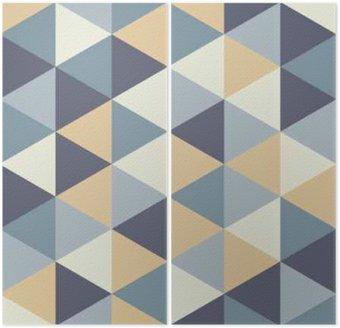 Tweeluik Vector moderne naadloze kleurrijke geometrie driehoek patroon, kleur abstract geometrische achtergrond, kussen veelkleurige print, retro textuur, hipster fashion design