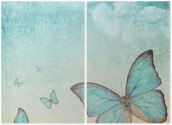 Tweeluik Vintage achtergrond met een blauwe vlinder