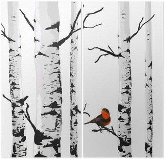 Tweeluik Vogel van berken, vector tekening met bewerkbare elementen.