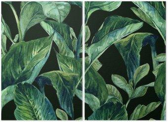 Tweeluik Watercolor Naadloze Achtergrond met Tropische Bladeren