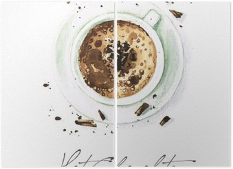 Tweeluik Watercolor Voedsel Schilderij - Hot Chocolate