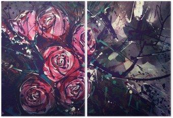 Tweeluik Waterverf het schilderen stijl rozen Abstracte kunst.