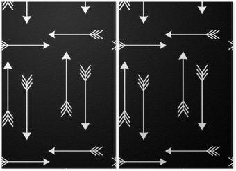 Tweeluik Witte pijlen op zwarte achtergrond naadloze vector patroon illustration__