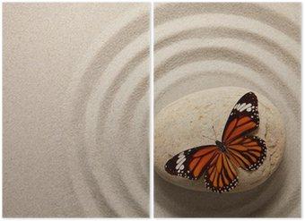 Tweeluik Zen rots met vlinder