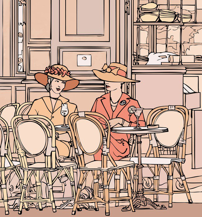 two elegant parisian women having cocktail in a cafe