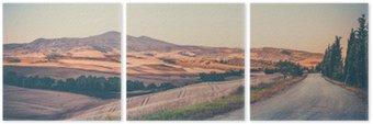 Üç Parçalı Bağbozumu Toskana manzara