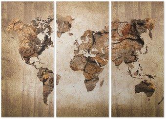 Üç Parçalı Carte du monde bois, doku duvar