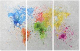 Üç Parçalı Dünya haritası boyama