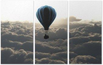 Üç Parçalı Gökyüzündeki hava balonu
