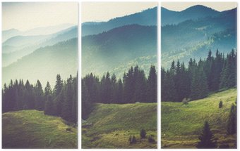 Üç Parçalı Güzel yaz dağ manzara.