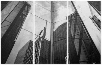 Üç Parçalı Modern mimari, siyah ve beyaz