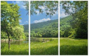 Üç Parçalı Nehir ve mavi gökyüzü ile yaz manzara