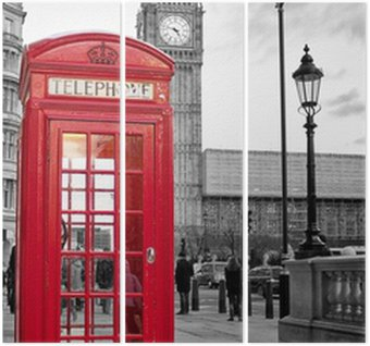 Üç Parçalı Siyah ve beyaz Big Ben ile Londra'da kırmızı telefon kulübesi
