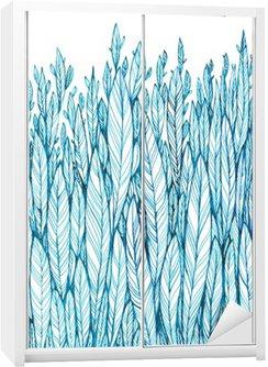 Kuvio sininen lehdet, ruoho, höyhenet, vesiväri muste piirustus Vaatekaappitarra