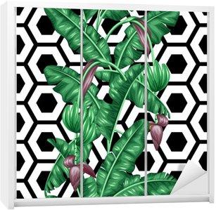 Saumaton malli banaanilevyillä. koristeellinen kuva trooppisista lehdistä, kukista ja hedelmistä. tausta tehty ilman clipping mask. helppokäyttöinen tausta, tekstiili, käärepaperi Vaatekaappitarra