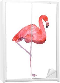 Vaaleanpunainen flamingo eristetty Vaatekaappitarra