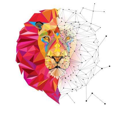 Väggdekor Lion head i geometriskt mönster med stjärn linje vektor