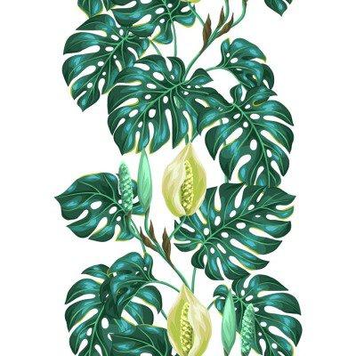Väggdekor Seamless monstera blad. Dekorativ bild av tropiska bladverk och blommor. Bakgrund göras utan urklippsmask. Lätt att använda för bakgrund, textil, omslagspapper