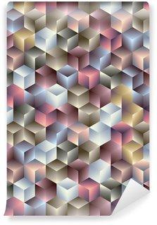 3d kuution geometrinen saumaton malli. Vinyyli Valokuvatapetti