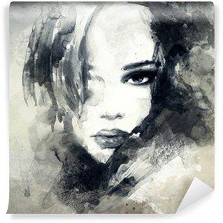 Abstrakti nainen muotokuva Vinyyli Valokuvatapetti
