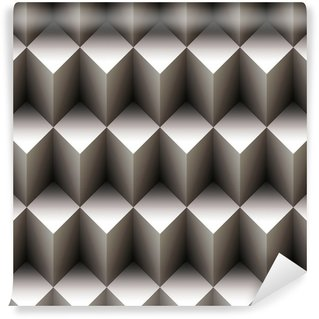Geometrinen saumaton kuvio, joka on tehty pinottukuutioista Vinyyli Valokuvatapetti