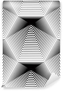 Geometrinen yksivärinen raidallinen saumaton malli, mustavalkoinen ve Vinyyli Valokuvatapetti