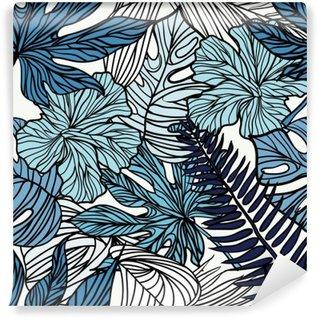 Vaskbar Fototapet Tropiske eksotiske blomster og planter med grønne blader av palmen.