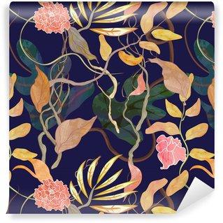 Trendy sømløse mønster med havne tema, vandfarve planter Vaskbare Tapet