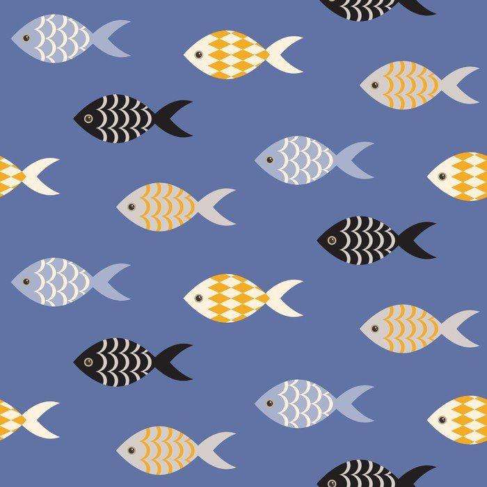 Obraz na Płótnie Vector czarne i białe ryby szwu. Szkoła ryby w rzędach na błękitnym oceanie wzorca. Lato motywu morskich. - Zwierzęta