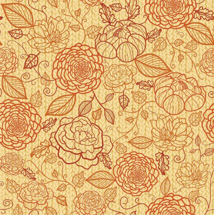 Vinyl wall mural vector floral line art seamless pattern