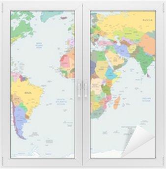 Globalt politisk kort over verden, vektor Vindue og Glas Klistermærke