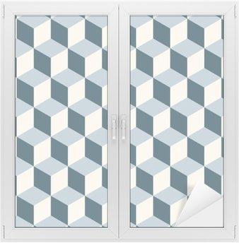 Vintage terninger 3d mønster baggrund. Retro vektor mønster. Vindue og Glas Klistermærke