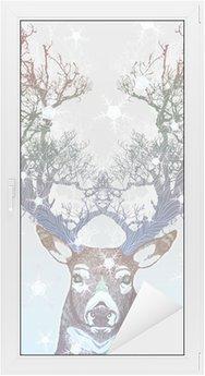 Vindu- og Glassklistremerke Frosset trehorn hjort