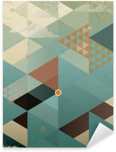 Vinilo Pixerstick Abstract Background Retro Geometric con nubes