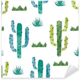 Pixerstick para Todas las Superficies Acuarela cactus patrón transparente. Vector de fondo con cactus verde y azul aislado en blanco.