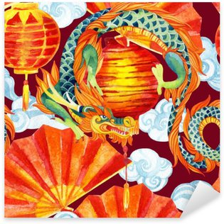 Vinilo Pixerstick Acuarela china del dragón patrón transparente.