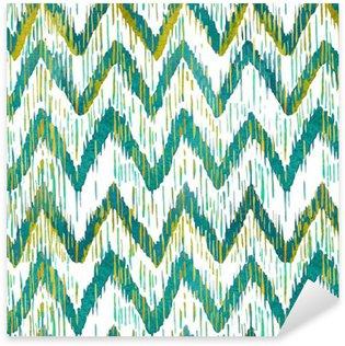 Vinilo Pixerstick Acuarela ikat patrón transparente galón. acuarela verde y azul. colección étnica de Bohemia.