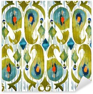 Vinilo Pixerstick Acuarela verde ikat patrón transparente vibrante. De moda tribal en estilo de la acuarela. Pluma de pavo real.