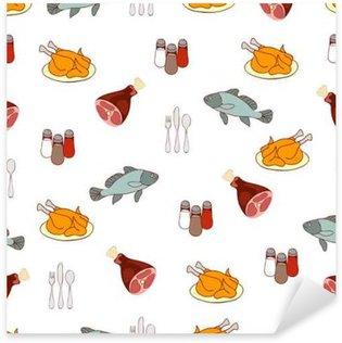 Pixerstick para Todas las Superficies Alimentación de vectores de fondo, carne y pescado. dibujos animados multicolor productos alimenticios elaborados, ilustración gustable. Para el diseño de la tela, papel pintado, tienda, decorar la cocina, restaurante, café