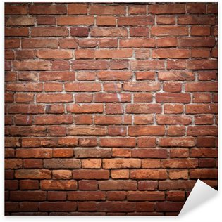 Vinilo Pixerstick Antiguo grunge pared de ladrillo rojo textura