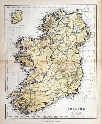 Pixerstick para Todas las Superficies Antiguo mapa de Irlanda, 1870