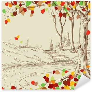 Pixerstick para Todas las Superficies Árbol de otoño en el boceto parque, hojas brillantes caen