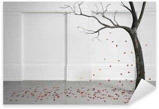 Pixerstick para Todas las Superficies Árbol viejo con las hojas que caen en una habitación blanca.