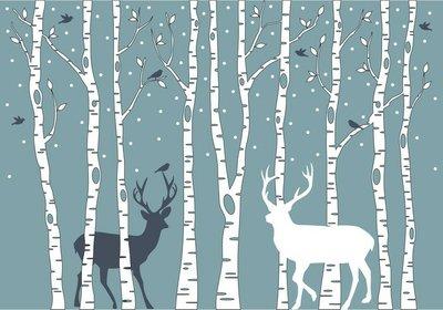 Pixerstick para Todas las Superficies Árboles de abedul con ciervos, vector de fondo