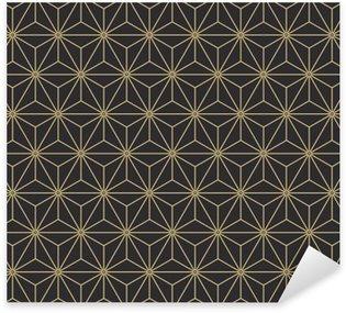 Vinilo Pixerstick Asanoha japonés de la vendimia inconsútil antiguo patrón de la paleta isométrica del vector