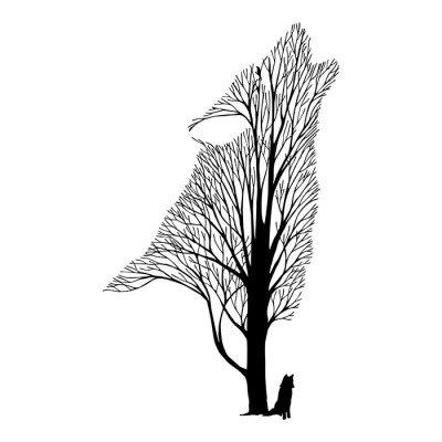 Pixerstick para Todas las Superficies Aullido del lobo mezcla del árbol del dibujo tatuaje vector