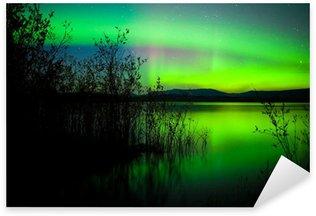 Pixerstick para Todas las Superficies Aurora boreal reflejada en el lago