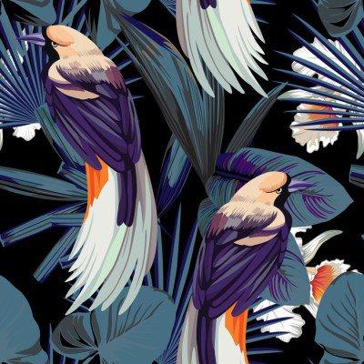 Pixerstick para Todas las Superficies Aves, orquídeas y noche sin fisuras fondo de la selva