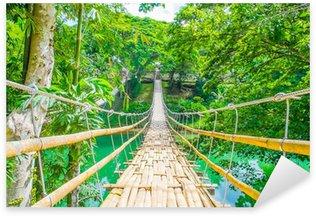 Pixerstick para Todas las Superficies Bambú puente colgante peatonal sobre el río