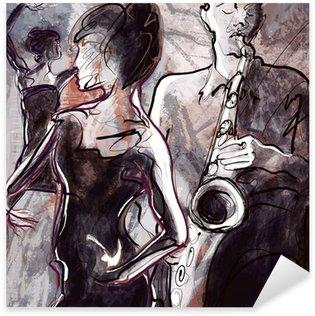 Vinilo Pixerstick Banda de jazz con bailarines